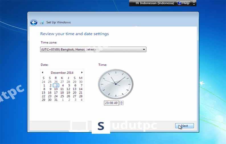 Atur zona waktu dan tanggal