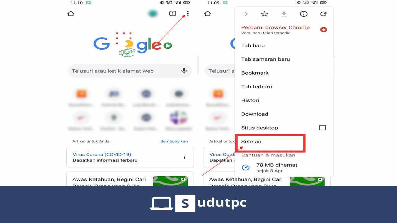 Buka pengaturan Google Chrome Android