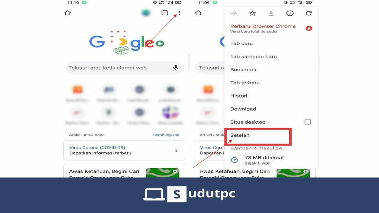 Buka pengaturan Google Chrome Android