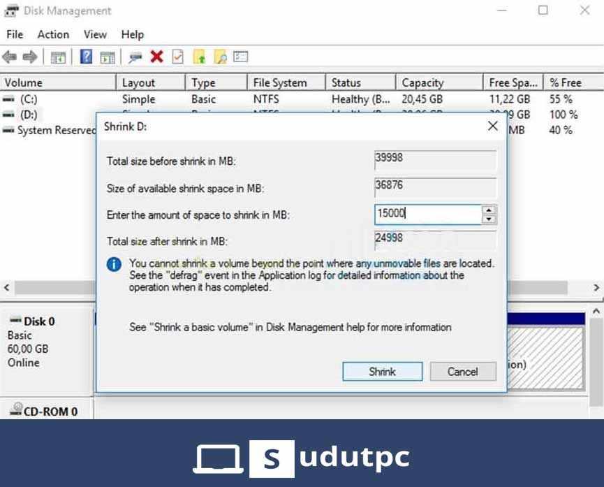 Cara membagi partisi hardisk Windows 10