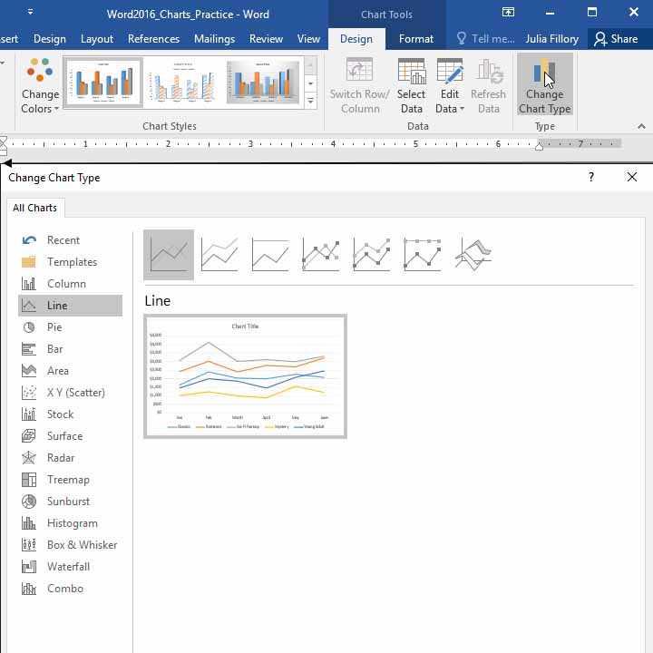 Cara mengubah jenis grafik di Word