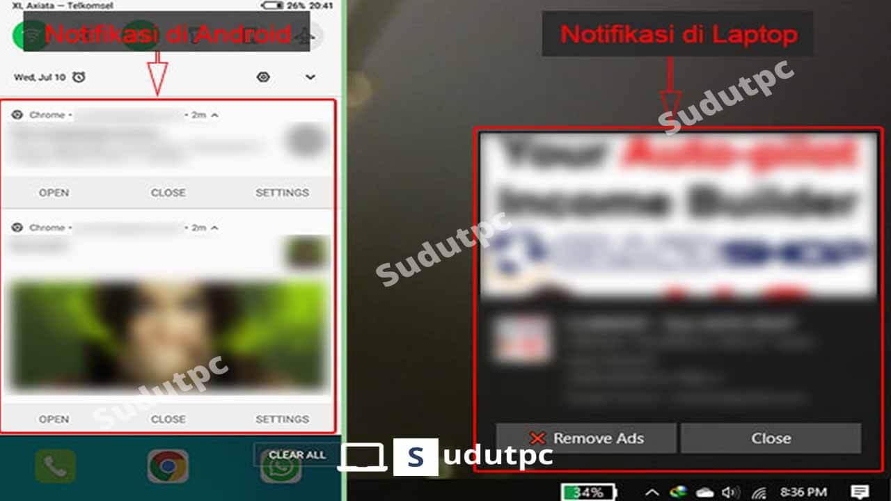 Contoh iklan notifikasi Google Chrome