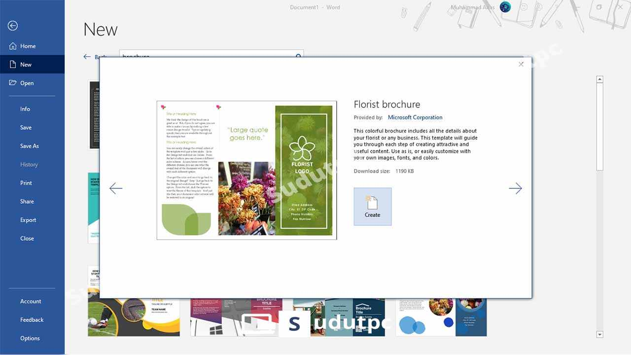 Download template brosur