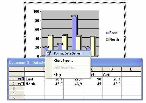 Format data series Microsoft Word
