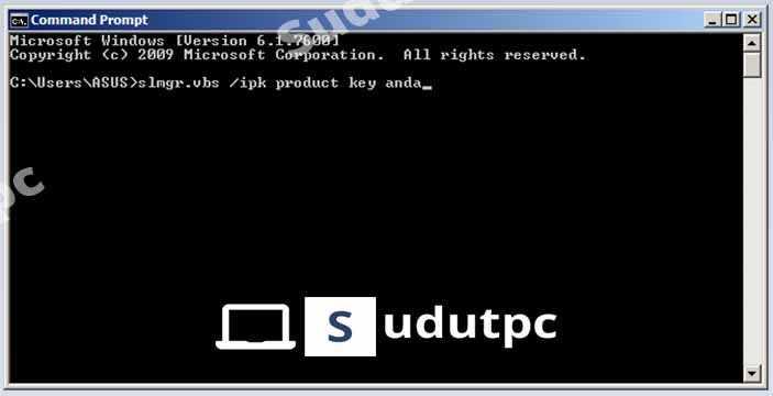 Ketik slmgr.vbs ipk product key