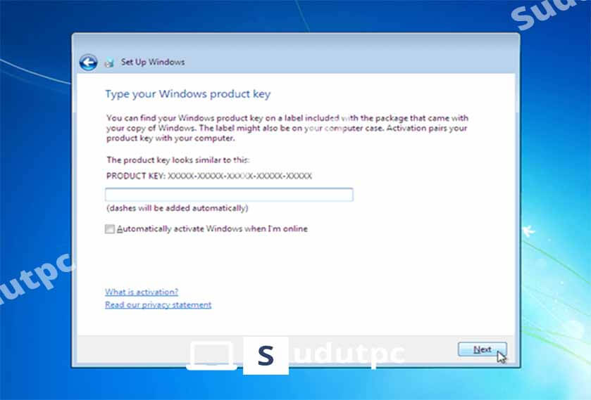 Masukkan product key Windows 7