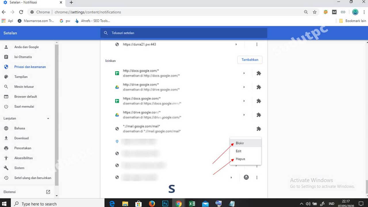 Menghilangkan iklan dan notifikasi di Google Chrome Windows 10