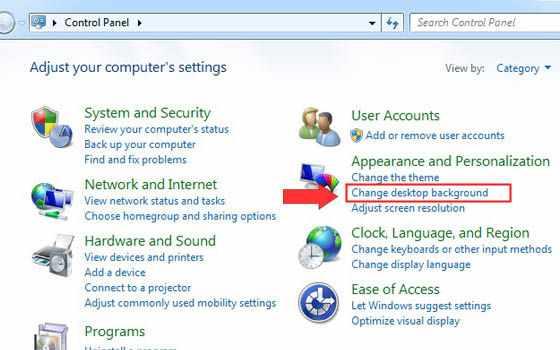 Klik change desktop background