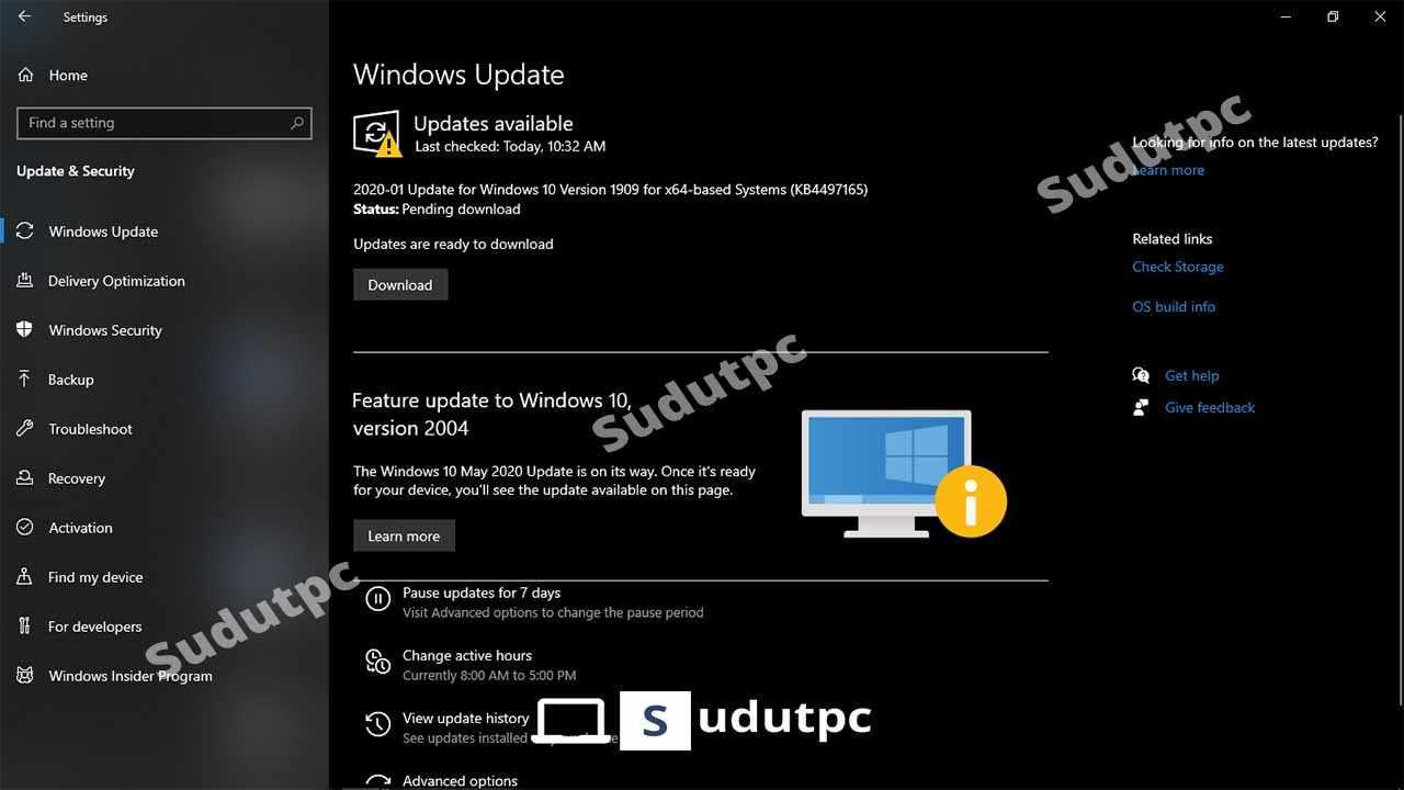 Tampilan update Windows 10