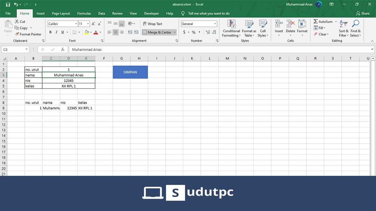 Cara membuat database di Excel macro