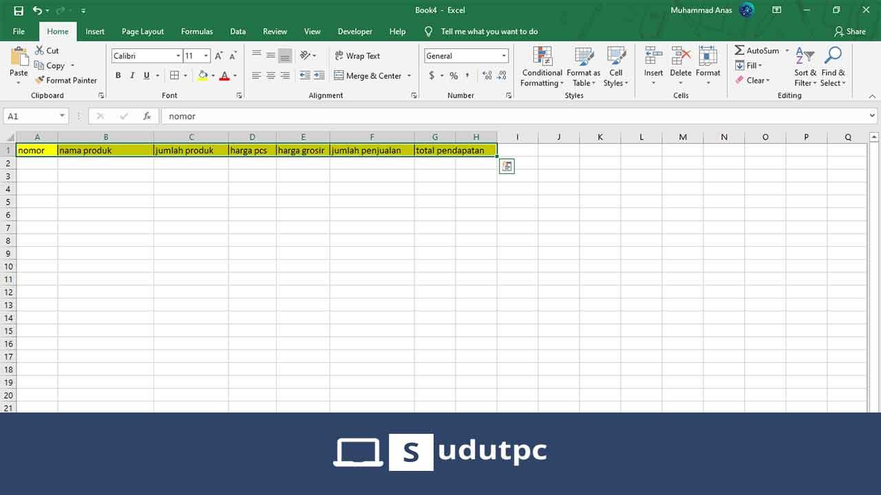 Cara membuat database di excel manual