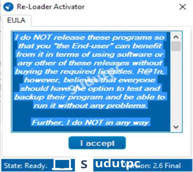 Klik I accept di Re-Loader Activator