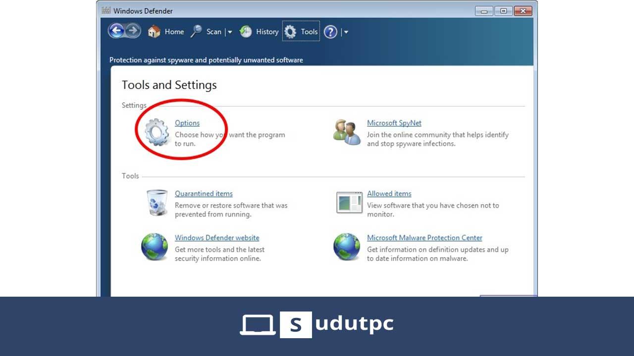 Klik options di Windows Defender