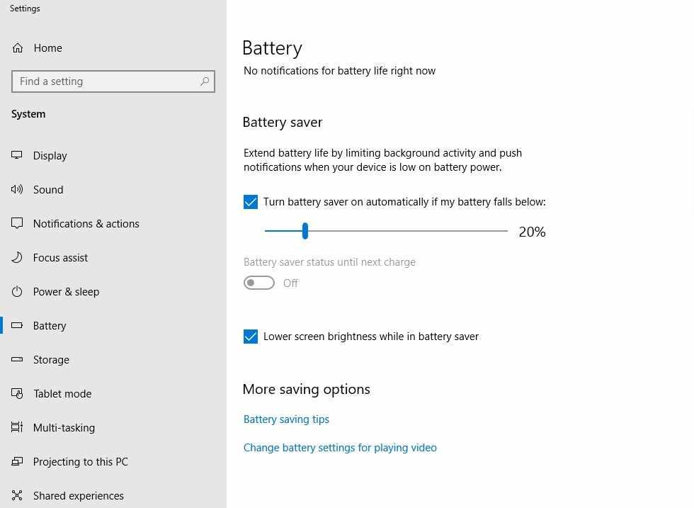 Mengaktifkan battery saver agar baterai laptop tidak cepat habis