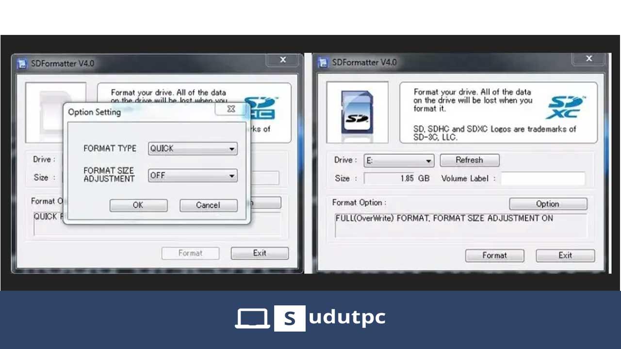 Cara format sd card dengan sd formatter