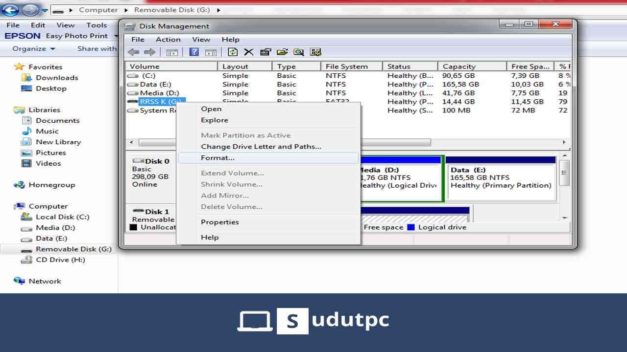 format flashdisk melalui disk management