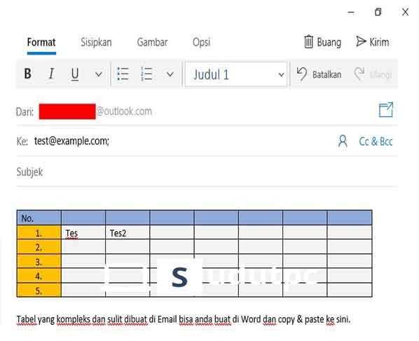 copy paste tabel ke email