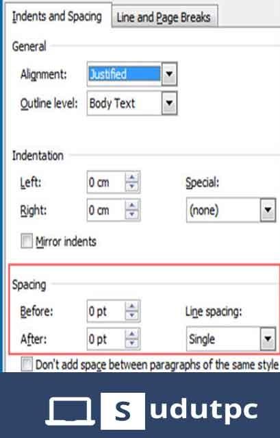 pilih single di bagian line spacing