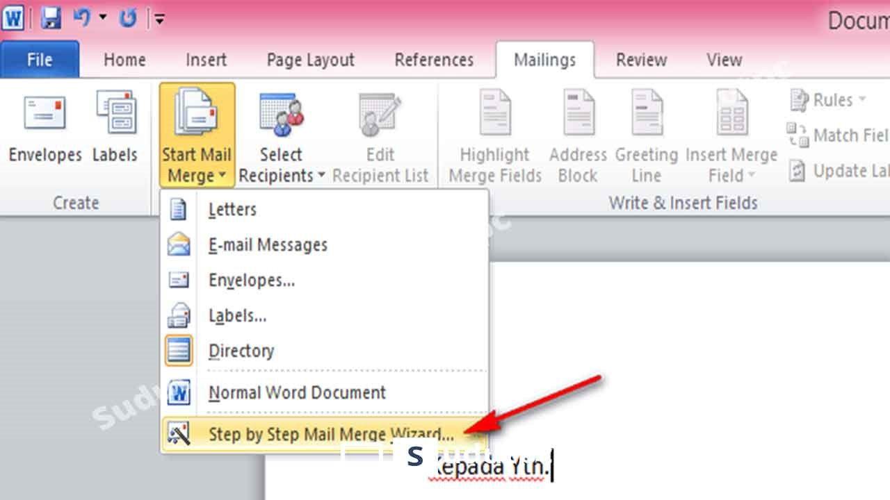 pilih step by step mail merge wizard