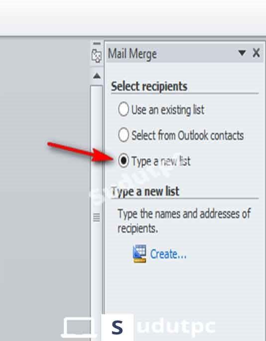 pilih type a new list dan klik create