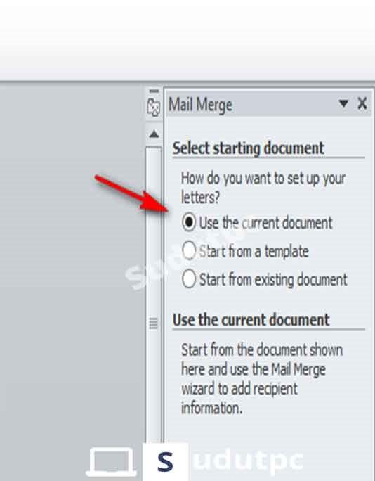 pilih use the current document dan klik next