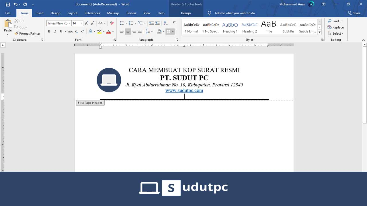 Cara Membuat Kop Surat di Word 2007, 2010, 2013, 2016