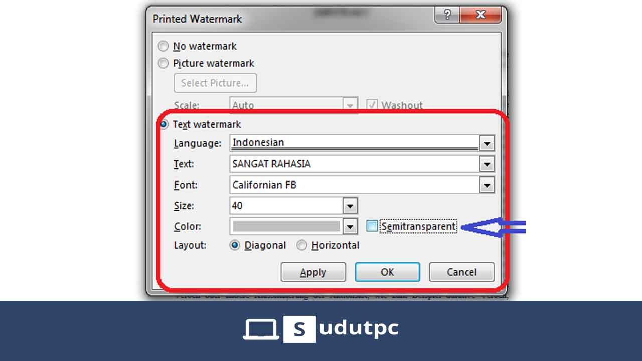 Mengubah text watermark